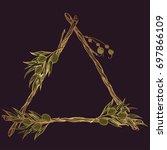 triangular frame made of... | Shutterstock .eps vector #697866109