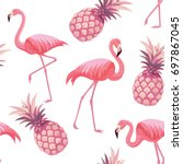 pattern with flamingos and... | Shutterstock .eps vector #697867045
