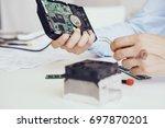 hard drive  fan  computer parts ... | Shutterstock . vector #697870201