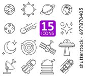 set of space icon vector | Shutterstock .eps vector #697870405