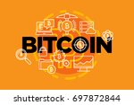 bitcoin currency. web banner.... | Shutterstock .eps vector #697872844