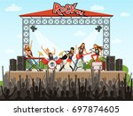 rock band on stage. people on... | Shutterstock .eps vector #697874605