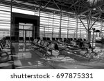 BRATISLAVA, SLOVAKIA - August 12, 2017: Empty gate of the airport in black and white - stock photo