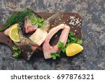 raw fish. selective focus.  | Shutterstock . vector #697876321