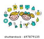 set pop art school icons ... | Shutterstock .eps vector #697879135