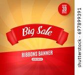 red ribbons horizontal banner... | Shutterstock .eps vector #697899391