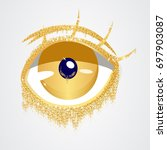 abstract gold eye.fashion eye...   Shutterstock .eps vector #697903087