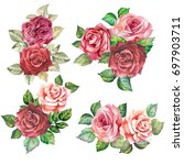 set of roses bouquets.watercolor | Shutterstock . vector #697903711