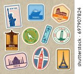travel stickers set with... | Shutterstock . vector #697907824