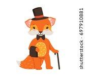 cute orange fox gentleman...   Shutterstock .eps vector #697910881