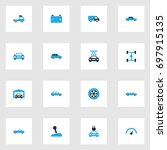 automobile colorful icons set.... | Shutterstock .eps vector #697915135