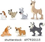 group of cartoon dogs. cute... | Shutterstock .eps vector #697920115
