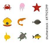 underwater animal stickers... | Shutterstock .eps vector #697925299
