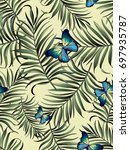 seamless tropical vector... | Shutterstock .eps vector #697935787