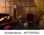 interior with antique red... | Shutterstock . vector #697939561