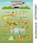school or education infographic ... | Shutterstock .eps vector #697945087