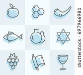 rosh hashana icons set for your ... | Shutterstock .eps vector #697966981