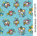 cute pattern butterfly color | Shutterstock .eps vector #697972579