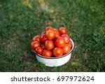 red cherry tomatoes in a bowl... | Shutterstock . vector #697972624