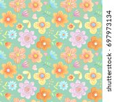 painted abstract floral... | Shutterstock . vector #697973134