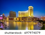 night view of a luxury hotel... | Shutterstock . vector #697974079
