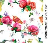 vintage seamless pattern  bird  ... | Shutterstock .eps vector #697975459