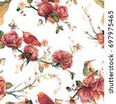 vintage seamless pattern  bird  ... | Shutterstock .eps vector #697975465
