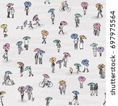 seamless pattern of tiny grey... | Shutterstock .eps vector #697975564