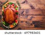 roasted thanksgiving turkey | Shutterstock . vector #697983601
