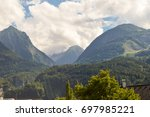 view of a valley and green... | Shutterstock . vector #697985221
