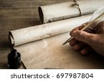 hand writing with old quill pen ... | Shutterstock . vector #697987804