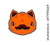 cat and mustache. orange cat...   Shutterstock .eps vector #697990669