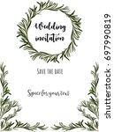 wedding invitation. eucalyptus... | Shutterstock .eps vector #697990819