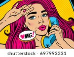 pop art female face. closeup of ... | Shutterstock .eps vector #697993231