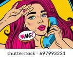 pop art female face. closeup of ... | Shutterstock .eps vector #697993231