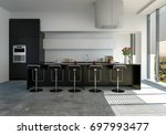 modern fitted kitchen with... | Shutterstock . vector #697993477
