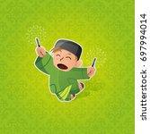 happy muslim boy celebrating... | Shutterstock .eps vector #697994014