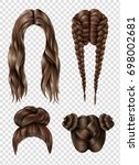 female hairstyles set including ... | Shutterstock .eps vector #698002681