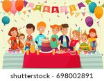 cartoon kids party poster with... | Shutterstock .eps vector #698002891