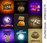 vector halloween design... | Shutterstock .eps vector #698010175