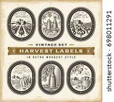 vintage harvest labels set | Shutterstock . vector #698011291