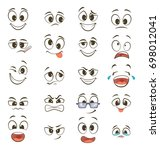 cartoon happy faces with... | Shutterstock . vector #698012041