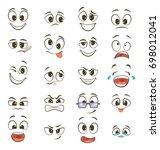 cartoon happy faces with... | Shutterstock . vector #698012041