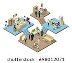 business center with people at... | Shutterstock . vector #698012071