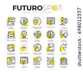 stroke line icons set of... | Shutterstock .eps vector #698012557