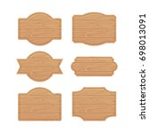 set of wooden sign boards for... | Shutterstock . vector #698013091