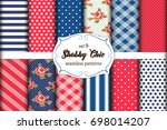 set of 12 cute seamless shabby... | Shutterstock .eps vector #698014207