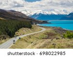 mount cook viewpoint with the... | Shutterstock . vector #698022985