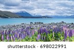 landscape view of lake tekapo ... | Shutterstock . vector #698022991