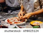italian food cooking pizza   Shutterstock . vector #698025124